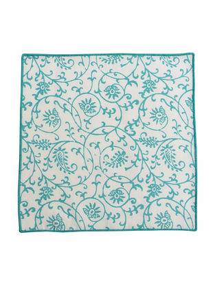Teal-White Cotton All over Paisley Screen Printed Cocktail Napkins (Set of 6) 10in x 10in
