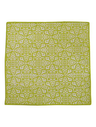 Green-White Cotton Flower Tile Pattern Screen Printed Cocktail Napkins (Set of 6) 10in x 10in
