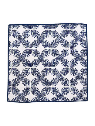 Navy-White Cotton Four Petal Flower Design Screen Printed Cocktail Napkins (Set of 6) 10in x 10in