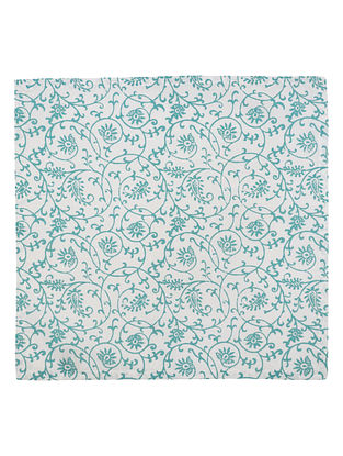 Teal-White Cotton All over Paisley Screen Printed Dinner Napkins (Set of 6) 16.5in x 16.5in