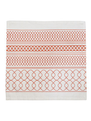 Red-White Cotton Ornate Stripe Pattern Screen Printed Dinner Napkins (Set of 6) 16.3in x 16.2in