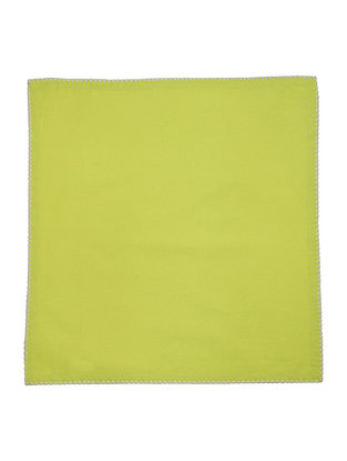 Green Cotton Solid with Contrast Flat Lock stitch Dinner Napkins (Set of 6) 16in x 15.5in