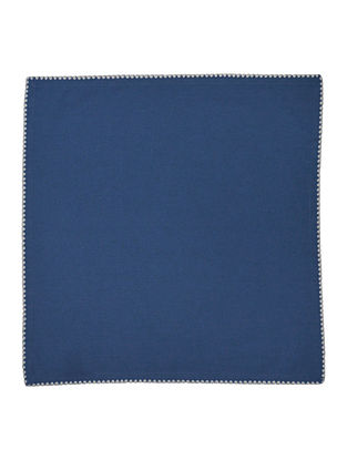 Blue Cotton Solid with Contrast Flat Lock stitch Dinner Napkins (Set of 6) 16in x 16in