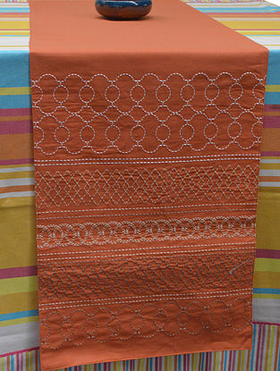 Orange Cotton Ornate Stripe Pattern Embroidered Table Runner 72in x 14.5in