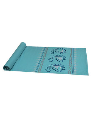 Turquoise Cotton Paisley Embroidered Table Runner 72in x 14.5in