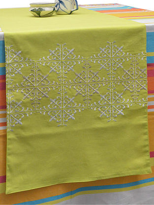 Green Cotton Flower Tile Pattern Embroidered Table Runner 71in x 14in