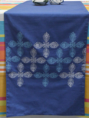 Blue Cotton Four Petal Flower Design Embroidered Table Runner 72in x 14in