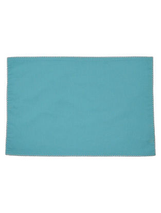 Teal-White Cotton Solid with Contrast Celtish Edge Placemats (Set of 6) 18.5in x 13in
