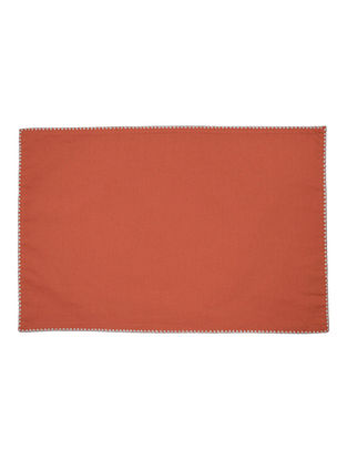 Red-White Cotton Solid with Contrast Celtish Edge Placemats (Set of 6) 19.5in x 13in