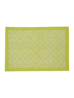 Green-White Cotton Flower Tile Screen Printed Pattern Placemats (Set of 6) 19in x 13.5in
