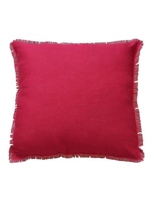 Pink-Grey Solid with Fringes Linen Cushion Cover 18in x 18in
