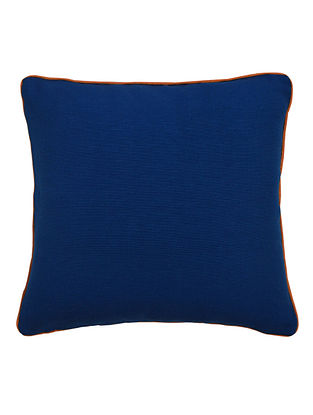 Blue Solid with Contrast Cord Piping Cotton Cushion Cover 16in x 16in