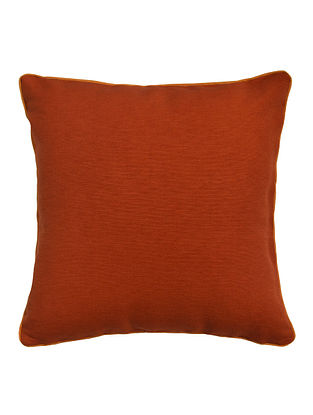 Orange Solid with Contrast Cord Piping Cotton Cushion Cover 16in x 16in