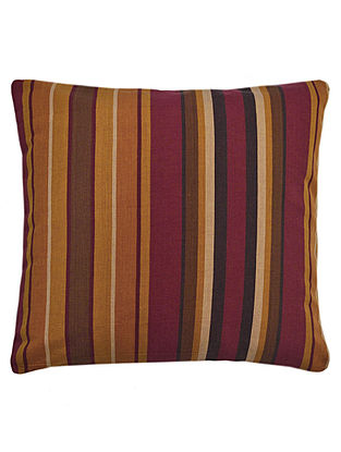 Maroon-Black Cotton Marakesh Yarn Dyed Cushion Cover 16in x 16in