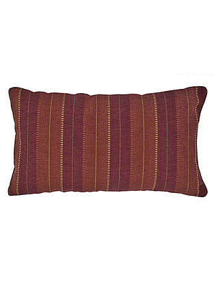Maroon-Orange Cotton Marakesh Yarn Dyed Cushion Cover 19.5in x 12in