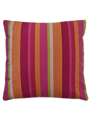 Pink-Orange Cotton Yarn Dyed Stripes Cushion Cover 16in x 15.6in