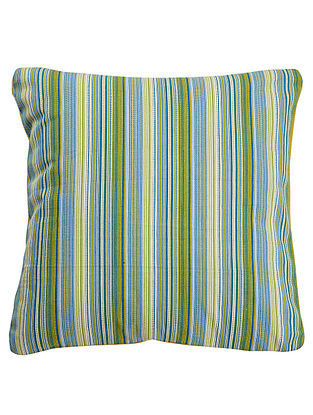 Blue-Yellow Cotton Yarn Dyed Stripes Cushion Cover 16in x 16in