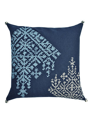 Navy Cotton Embroidered Amalti - Criss Cross Block Cushion Cover 12in x 12in
