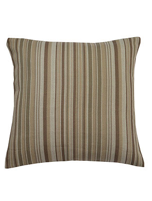 Taupe Cotton Yarn-Dyed Twill Stripe Cushion Cover 16in x 16in
