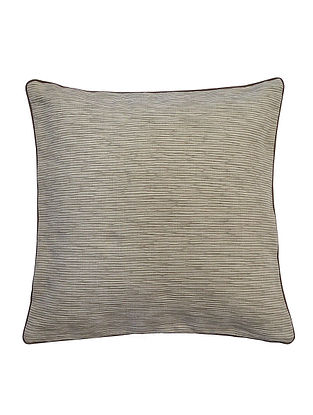 Cream Cotton Two Tone Bamboo Cushion Cover with Cord Piping 16in x 16in