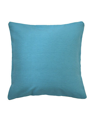 Aqua Cotton Solid Bamboo Cushion Cover with Cord Piping 16in x 16in