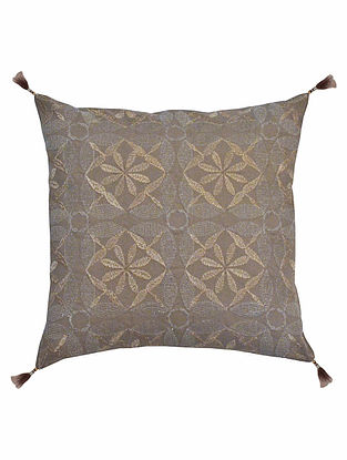 Taupe Cotton Petra - All Over Diamond Design with Zari Tassels Cushion Cover 12in x 11.6in