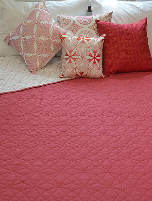Coral Cotton Stonewash Quilted Pattern Bed Cover 108in x 92in