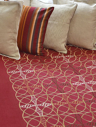 Maroon Cotton Inter Locking Circle Embroidered Bedcover 110in x 91in