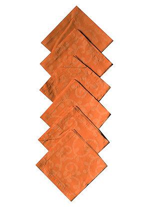 Orange Cotton All Over Printed Batik Trellis Cocktail Napkins (Set of 6) 10in x 10in