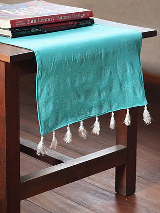 Aqua Cotton All Over Printed Batik Tiny Flowers Table Runner 71in x 14in