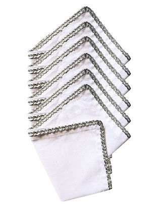 White Cotton Solid Cocktail Napkins with Silver Trim (Set of 6) 10in x 10in