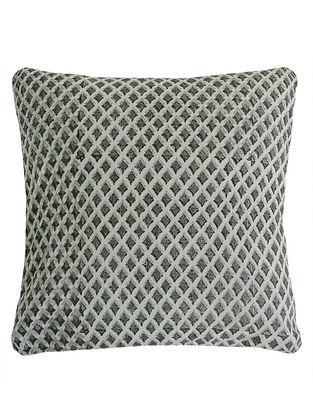 Metallic Pigment Diamond Overlap Block Printed Cushion Cover By Yamini