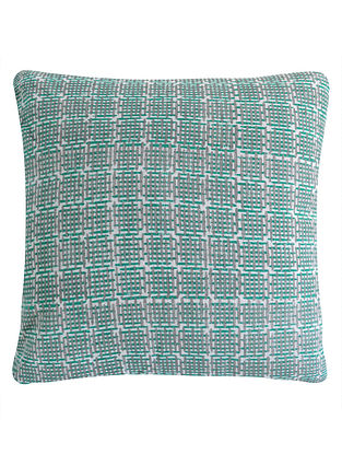 Metallic Pigment Grid Design Block Printed Cushion Cover By Yamini