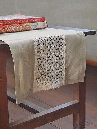 Lace Trim Natural Linen Table Runner By Yamini