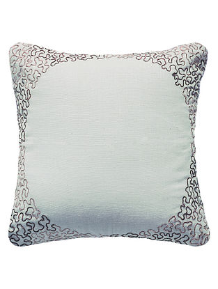 Off-White Reverse Eclipse Hand Embroidered Matka Silk Cushion Cover 11.8in x 11.8in