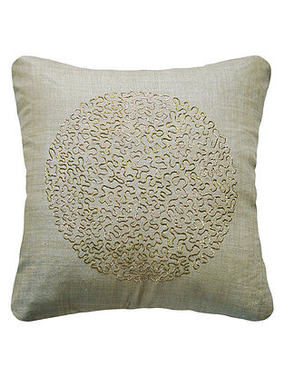 Sage Eclipse Hand Embroidered Silk Cushion Cover 16in x 16in