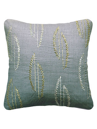 Taupe Silk Embroidered Cushion Cover 16in x 16in