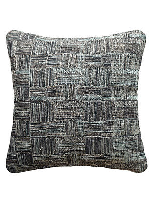 Midnight Blue Cotton Linen Weave Embroidered Cushion Cover 16in x 16in