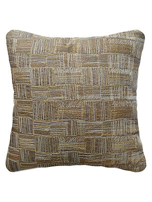 Slate Cotton Linen Weave Embroidered Cushion Cover 16in x 16in