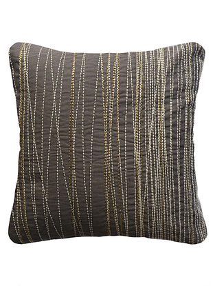 Slate Linear Embroidered Cotton Linen Cushion Cover 12in x 12in