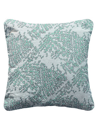 Aqua Pebbles embroidered Cotton Linen Cushion Cover 12in x 12in