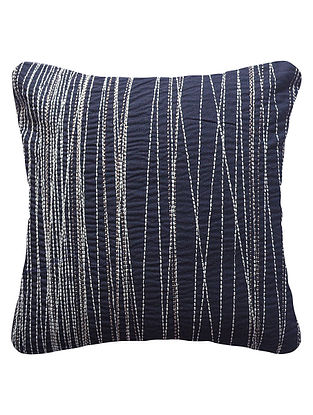 Midnight Blue Cotton Linen Linear Embroidered Cushion Cover 12in x 12in