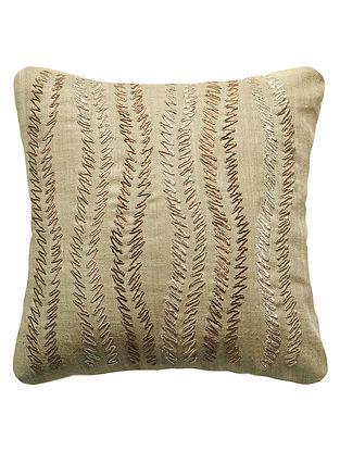 Khaki Urban Garden Silk Hand Embroidered Cushion Cover 12in x 12in