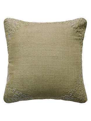 Sage Reverse Eclipse Hand Embroidered Matka Silk Cushion Cover 12in x 12in