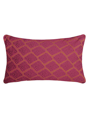 Pink Embroidered Cotton Cushion Cover - 20in X 12in
