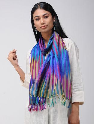 Blue-Beige Ikat Katan Silk Stole