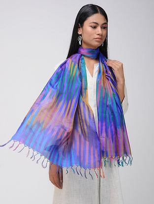 Blue-Pink Ikat Katan Silk Stole