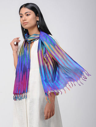 Blue-Purple Ikat Katan Silk Stole