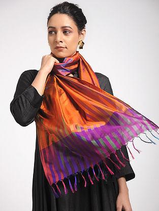 Orange-Purple Ikat Katan Silk Stole