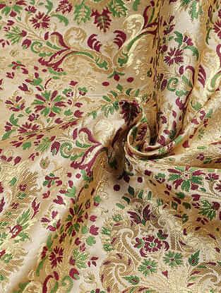 Ivory-Green Benarasi Kimkhwab Brocade Fabric